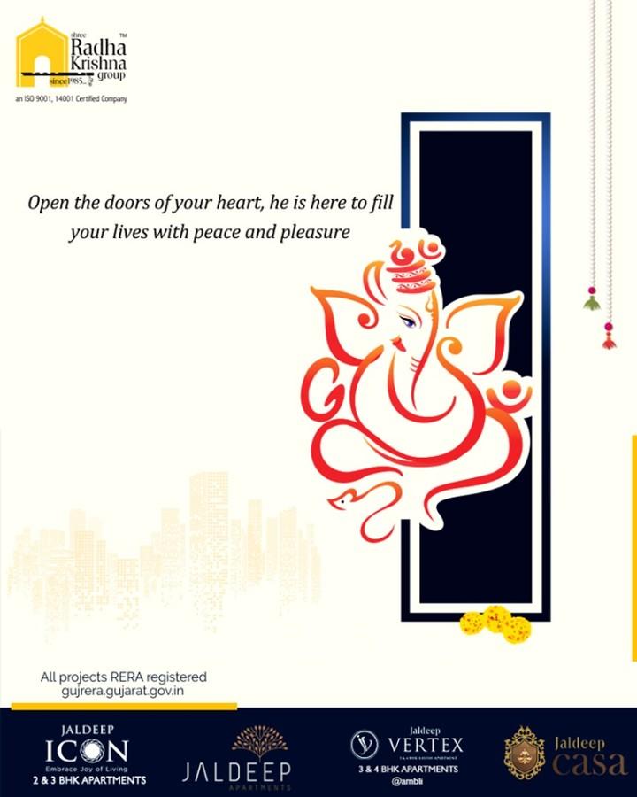 Open the doors of your heart, he is here to fill your lives with peace and pleasure.  #GaneshChaturthi2019 #GanpatiBappaMorya #HappyGaneshChaturthi #Ganesha #GaneshChaturthi #ShreeRadhaKrishnaGroup #Ahmedabad #RealEstate #SRKG