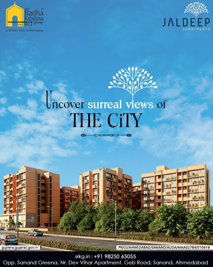 Uncover surreal views of the city into a lush backdrop of open green spaces at the premises of #JaldeepApartment.  #ExpanseOfElegance #LuxuryLiving #ShreeRadhaKrishnaGroup #Ahmedabad #RealEstate #SRKG #IconicApartments