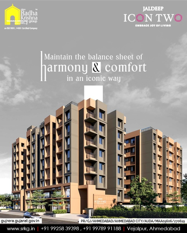 Maintain the balance sheet of harmony & comfort in an iconic way at #JaldeepIcon2. Your search for a balanced lifestyle ends here!  #LuxuryLiving #ShreeRadhaKrishnaGroup #Ahmedabad #RealEstate #SRKG #IconicApartments