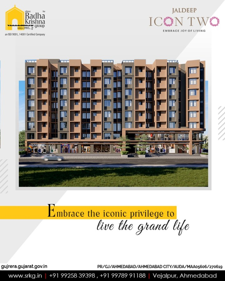 Embrace the iconic privilege to live the grand life by making #JaldeepIcon2 your new residential address.  #Icon2 #ShreeRadhaKrishnaGroup #Ahmedabad #RealEstate #SRKG