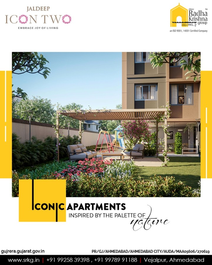Gear up to witness the mesmerizing views every-day all by yourself at #JaldeepIcon2, a residential address which boasts of the iconicapartments inspired by the palette of nature.  #Icon2 #ShreeRadhaKrishnaGroup #Ahmedabad #RealEstate #SRKG