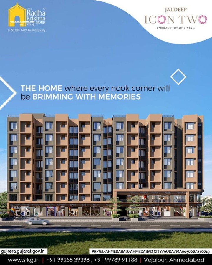 Home is where love dwells and memories thrive.  Come home to a place where the nooks & corners will be brimming with memories.  #Amenities #LuxuryLiving #ShreeRadhaKrishnaGroup #Ahmedabad #RealEstate #SRKG #IconicApartments #IconicLiving