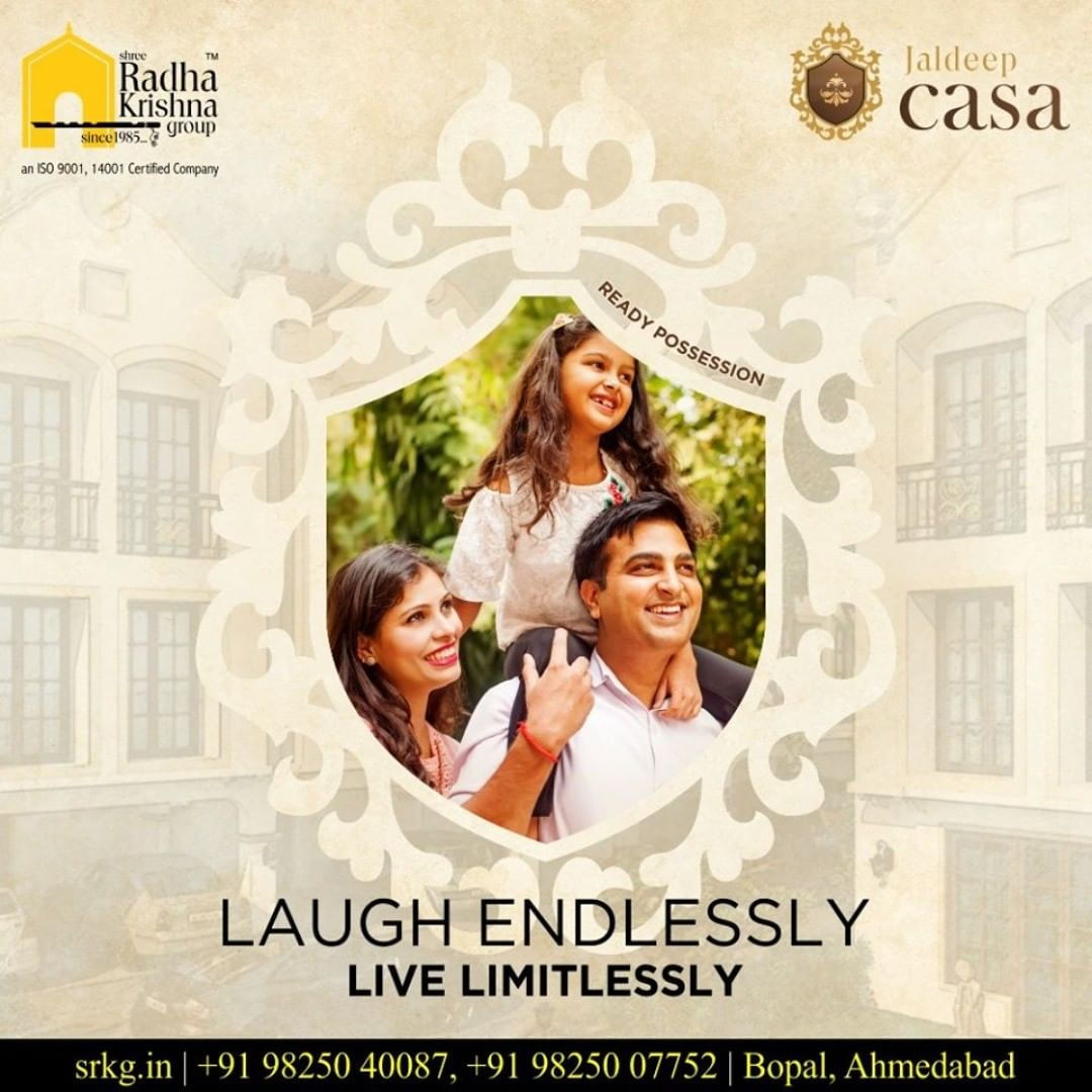 Laugh endlessly & live limitlessly.  Come home to a lavish lifestyle at #JaldeepCasa.  #WorkOfHappiness #Bopal #Amenities #LuxuryLiving #ShreeRadhaKrishnaGroup #Ahmedabad #RealEstate