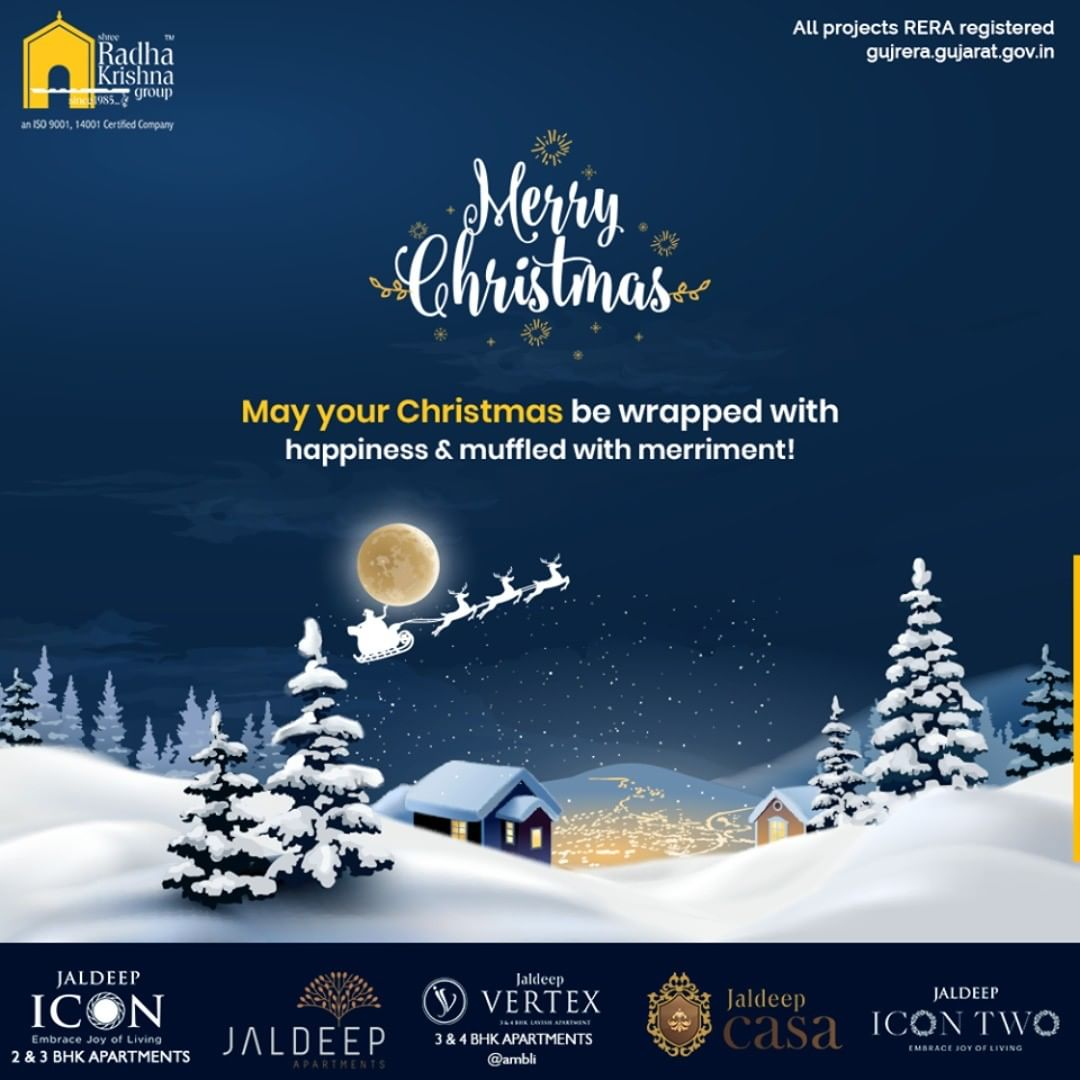 May your Christmas be wrapped with happiness & muffled with merriment!  #Christmas #MerryChristmas #Christmas2019 #Festival #Cheers #Joy #Happiness #ShreeRadhaKrishnaGroup #Ahmedabad #RealEstate #SRKG #IconicApartments #IconicLiving
