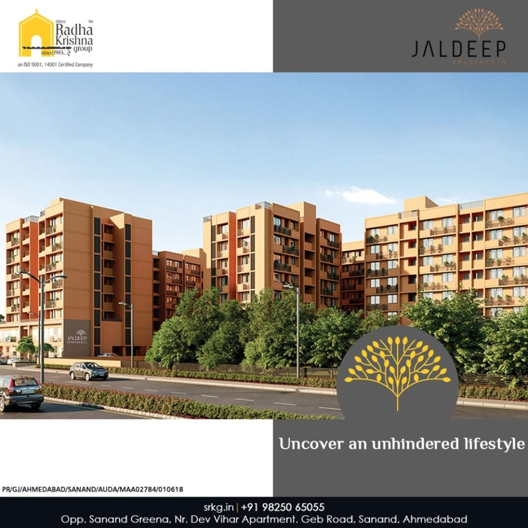 Uncover an unhindered lifestyle that is as exclusive as you are at #JaldeepApartment.  #AlluringApartments #AffordableLuxury #ExpanseOfElegance #LuxuryLiving #ShreeRadhaKrishnaGroup #Ahmedabad #RealEstate #SRKG