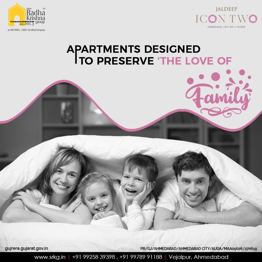 Family is where happiness begings! #JaldeepIcon2 is uniquely designed to preserve the love of family.  #Amenities #LuxuryLiving #ShreeRadhaKrishnaGroup #Ahmedabad #RealEstate #SRKG #IconicApartments #IconicLiving
