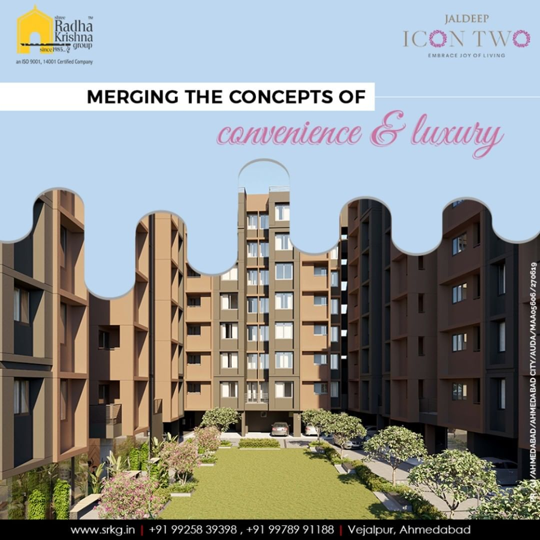 Merging the concepts of convenience and luxury; #JaldeepIcon2 anticipates offering the pleasant aesthetics around that will help its residents to stay connected to their roots.  #Amenities #LuxuryLiving #ShreeRadhaKrishnaGroup #Ahmedabad #RealEstate #SRKG #IconicApartments #IconicLiving