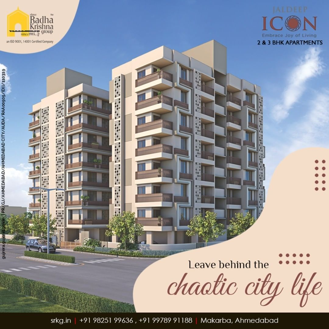 Live in the lap of peace and happiness, leaving behind the chaotic city life at #JaldeepIcon.  #AlluringApartments #ExpanseOfElegance #LuxuryLiving #ShreeRadhaKrishnaGroup #Ahmedabad #RealEstate #SRKG