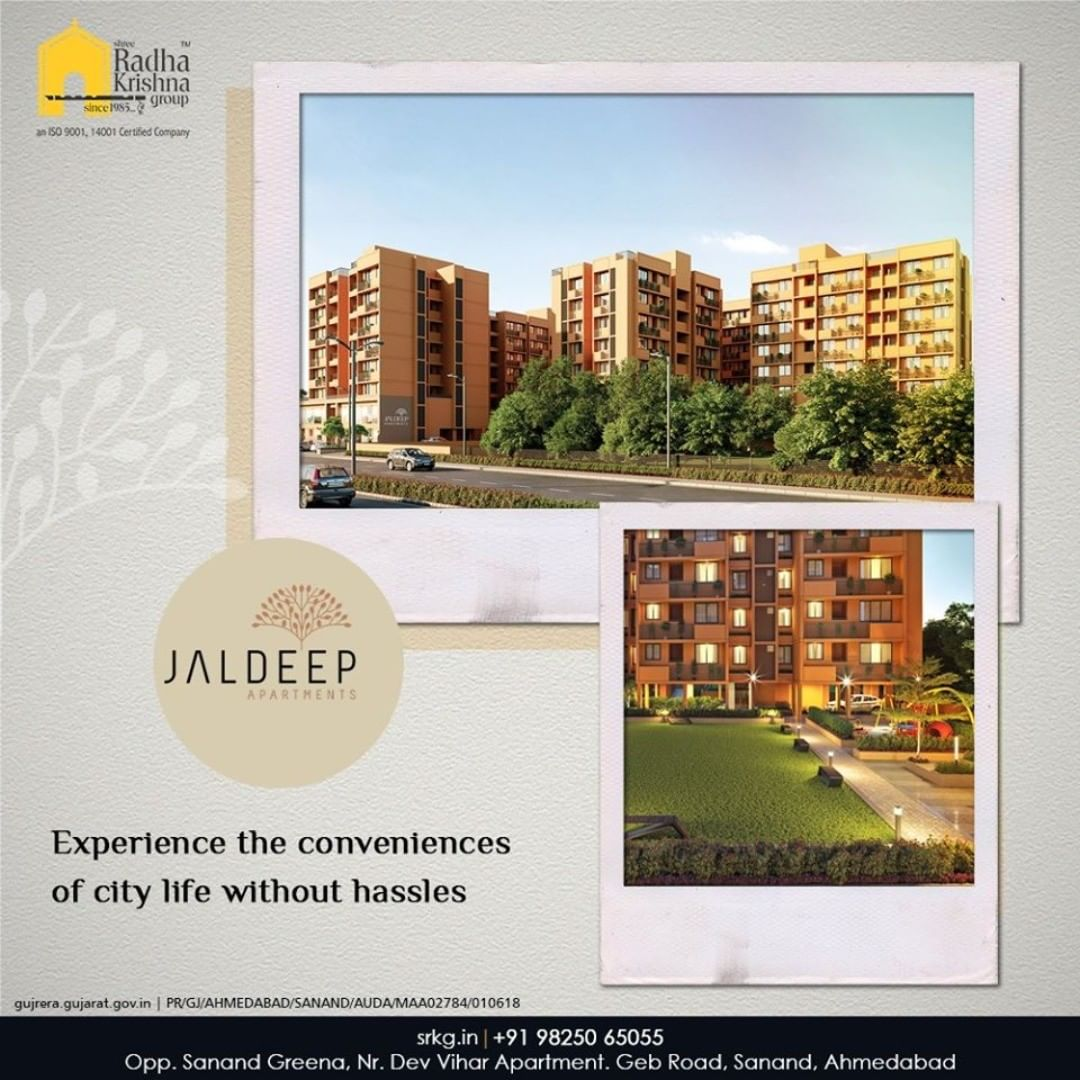 Unwind amidst the bounties of nature and also experience the conveniences of city life without hassles.  #JaldeepApartment #AlluringApartments #ExpanseOfElegance #LuxuryLiving #ShreeRadhaKrishnaGroup #Ahmedabad #RealEstate #SRKG