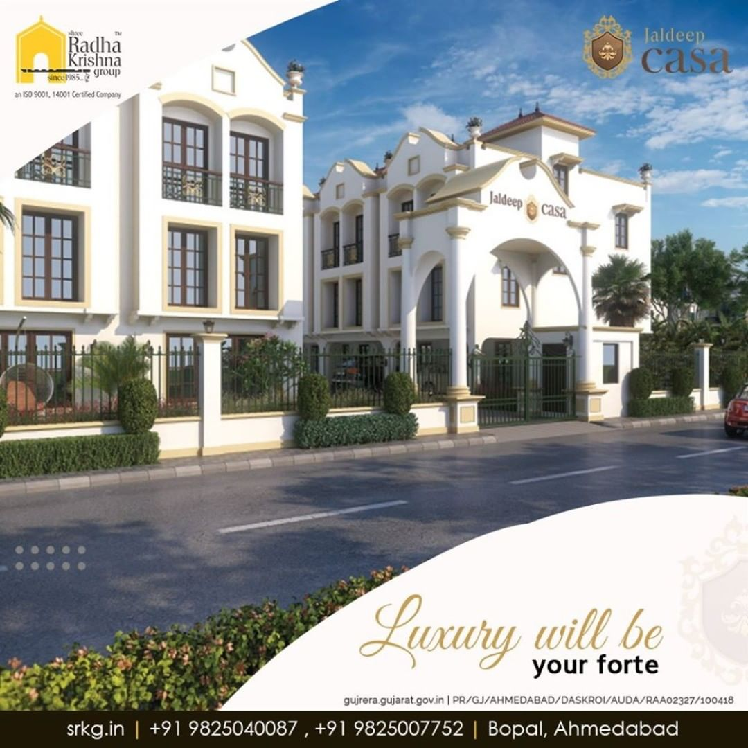 Offering a surreal expanse of opulence, luxury will be your forte at #JaldeepCasa.  #CasaLife #Amenities #LuxuryLiving #ShreeRadhaKrishnaGroup #Ahmedabad #RealEstate #SRKG
