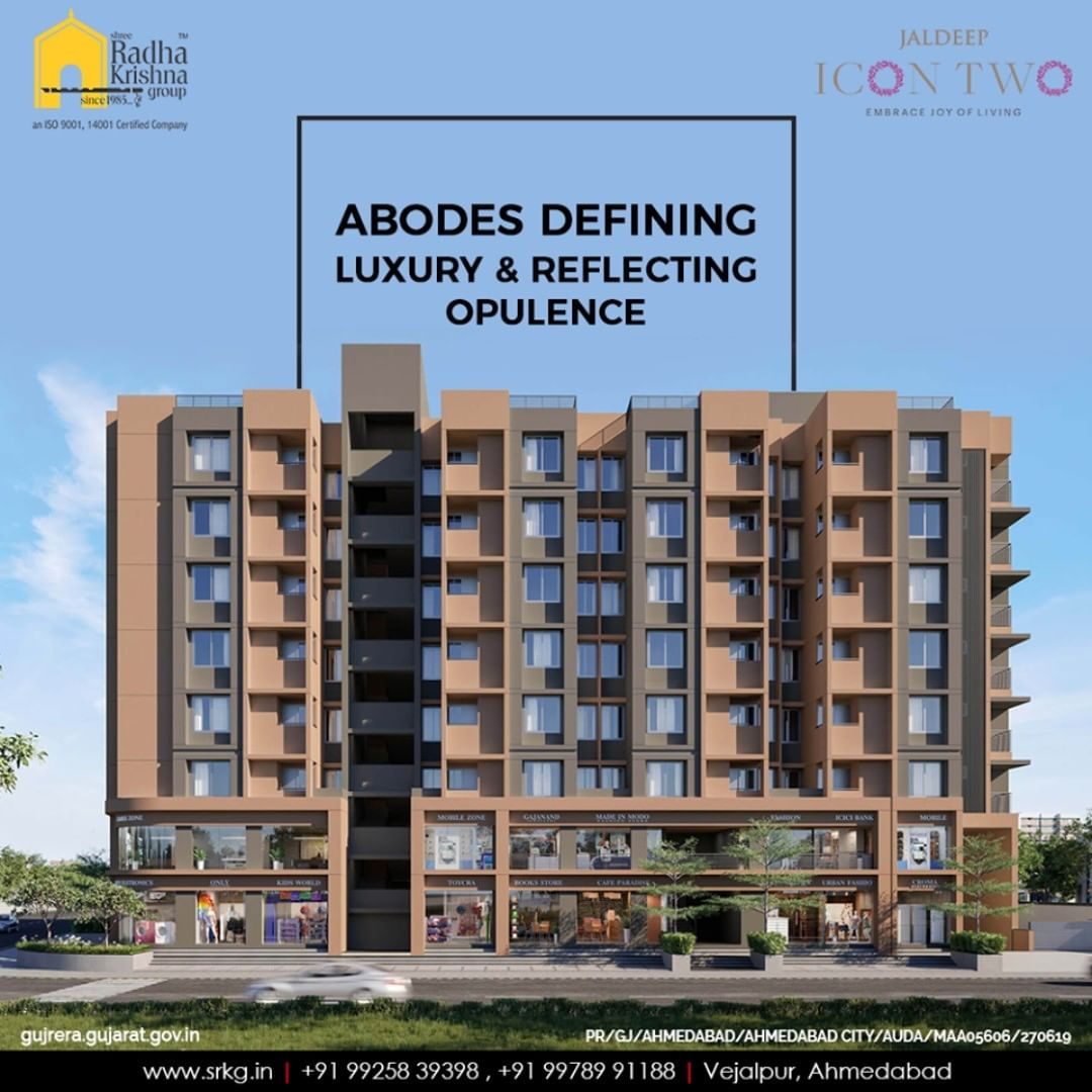 Opulence and luxury will get rolled in one at #jaldeepicon2 and happiness will resonate in every nook and corner.  #Icon2 #LuxuryLiving #ShreeRadhaKrishnaGroup #Ahmedabad #RealEstate #SRKG