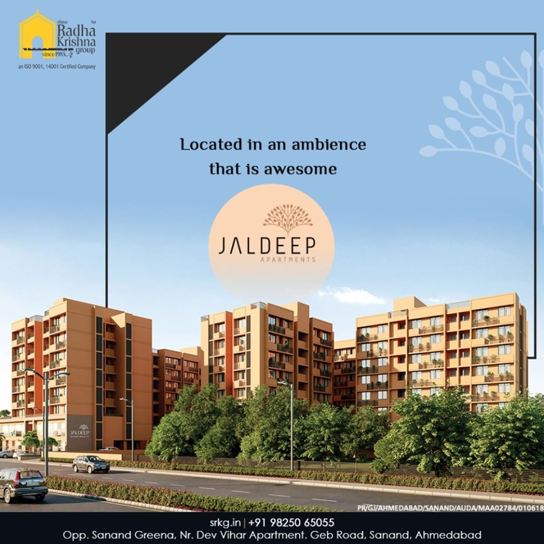 It is closeness to the nature's canvas that gives a vital foundation to our creation!  Located in an ambience that is awesome, #JaldeepApartment offers a host of recreational facilities to its residents.  #AlluringApartments #ExpanseOfElegance #LuxuryLiving #ShreeRadhaKrishnaGroup #Ahmedabad #RealEstate #SRKG
