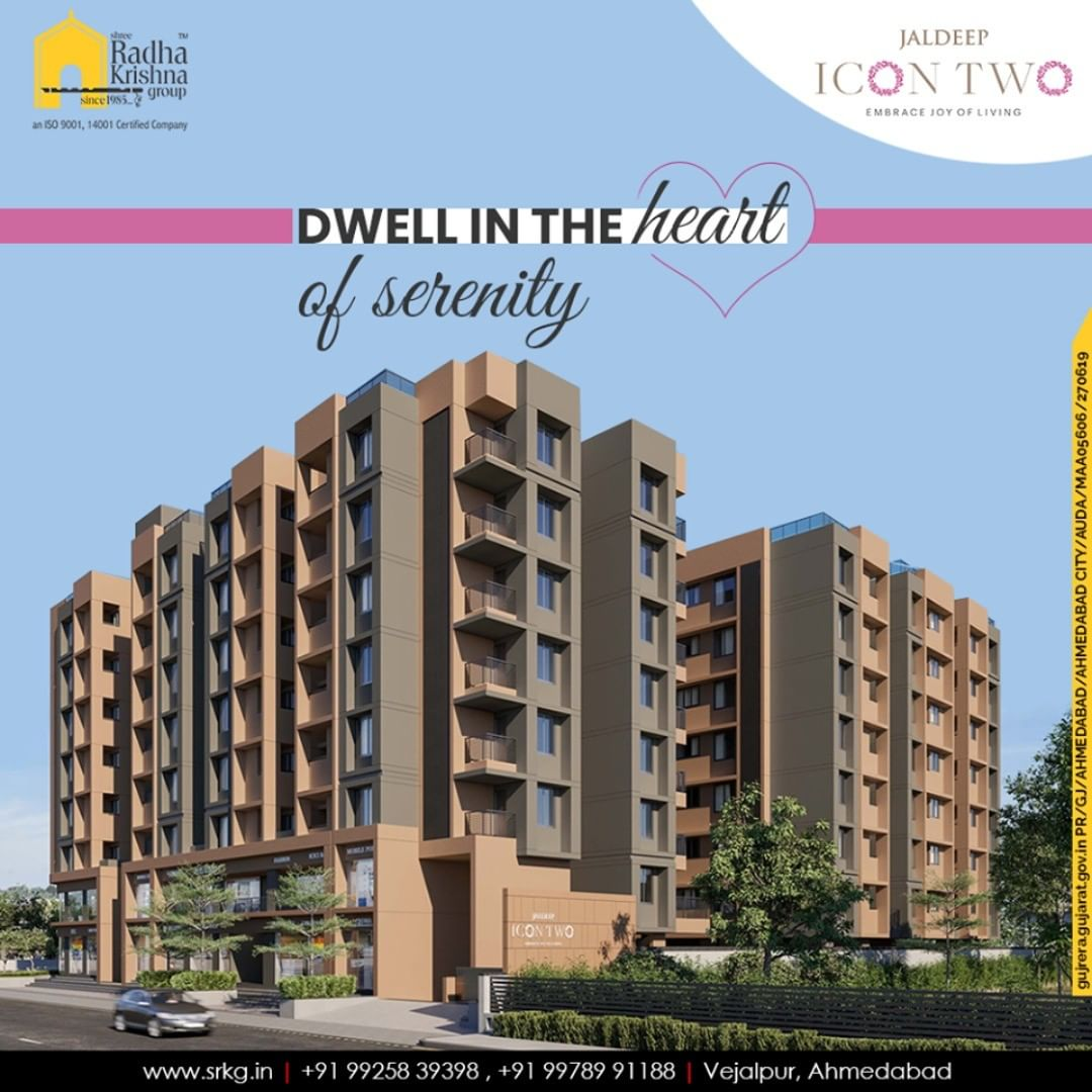 Dwell in the heart of serenity at the pinnacle of calmness and peacefulness.  #JaldeepIcon2 #Icon2 #Vejalpur #LuxuryLiving #ShreeRadhaKrishnaGroup #Ahmedabad #RealEstate #SRKG
