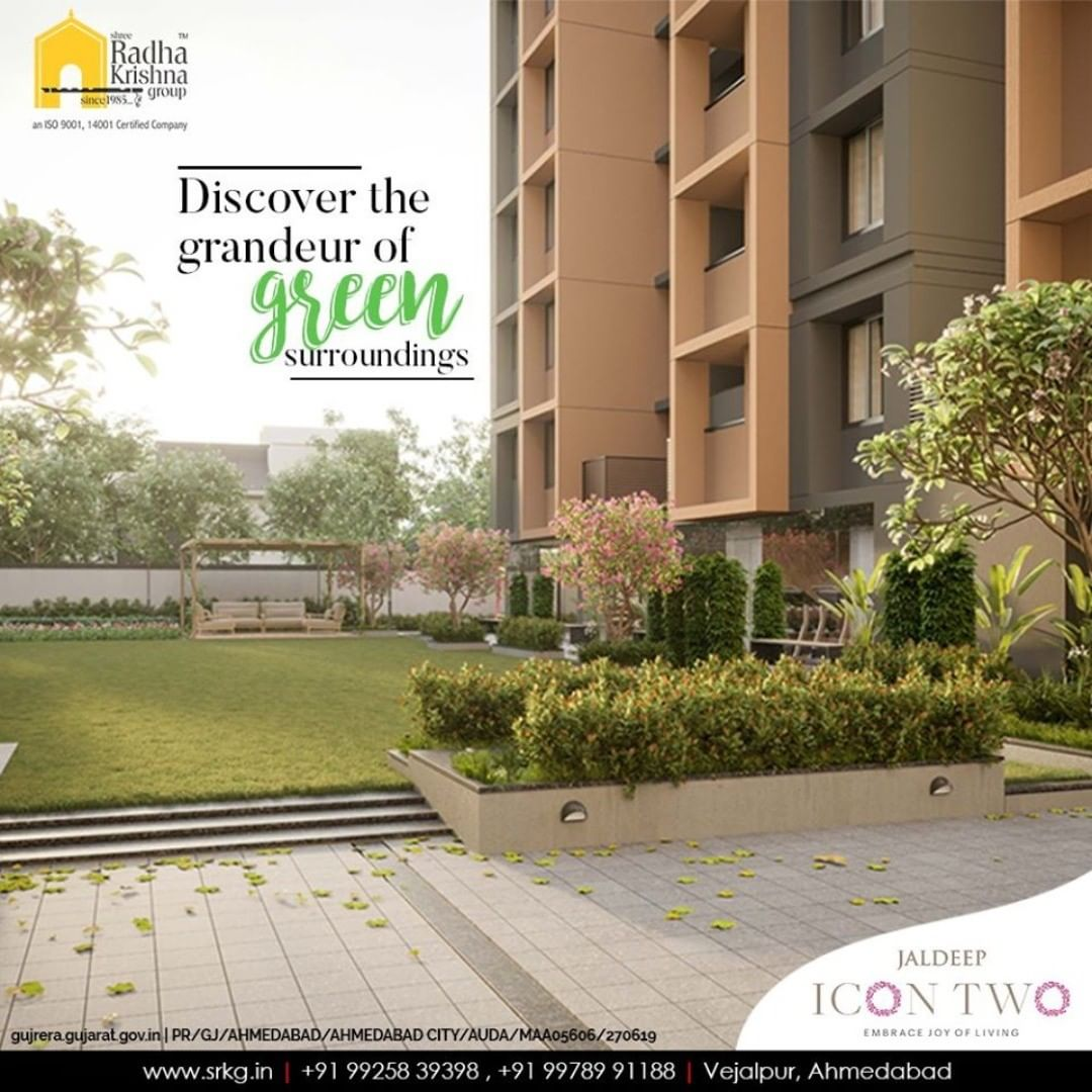Discover the grandeur of green surroundings and tune into the soothing melodies of tranquility.  #Icon2 #LuxuryLiving #ShreeRadhaKrishnaGroup #Ahmedabad #RealEstate #SRKG