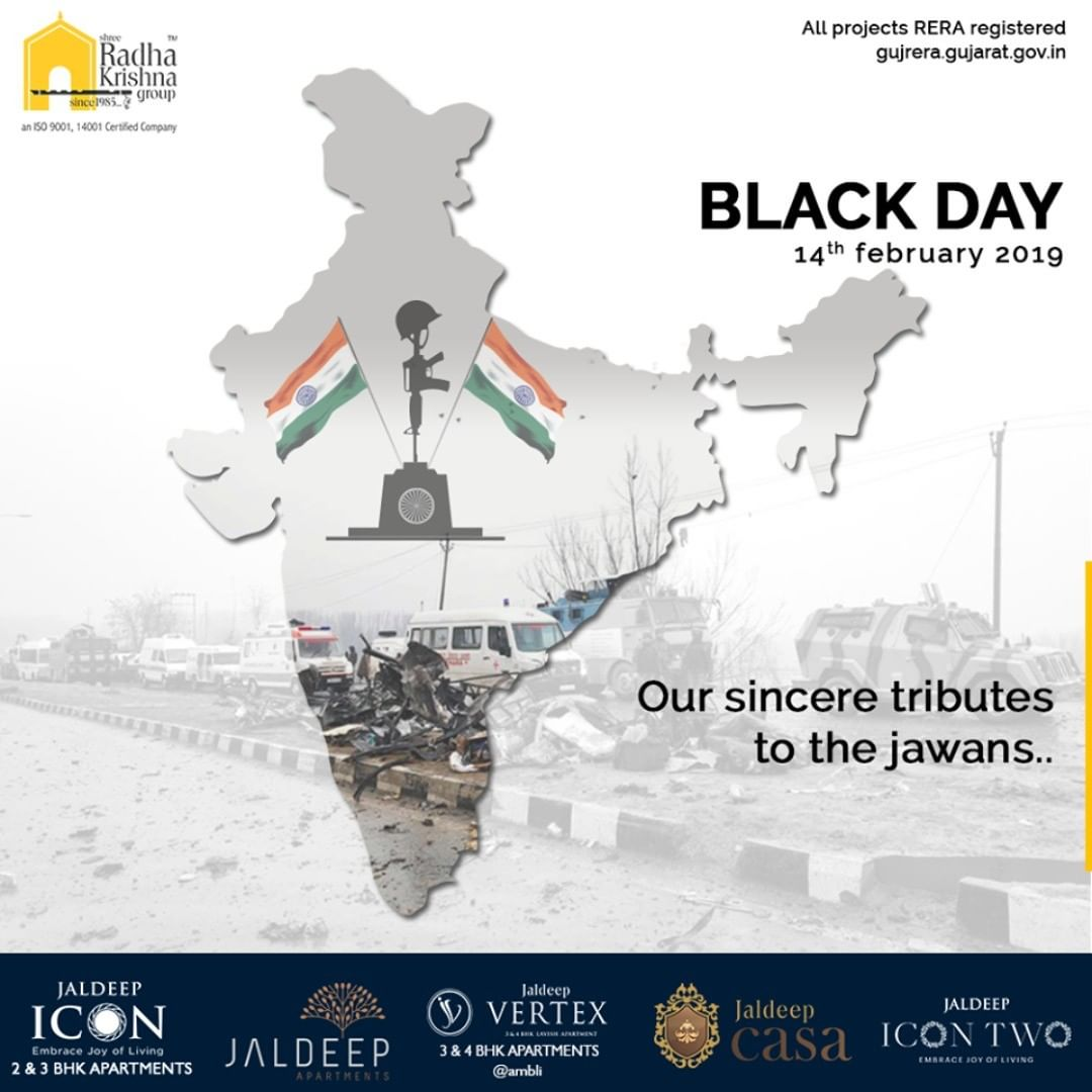 Our sincere tributes to the jawans... #PulwamaAttack #RIP #PulwamaTerrorAttack #Pulwama #RememberingPulwama #SRKG #ShreeRadhaKrishnaGroup #Ahmedabad #RealEstate