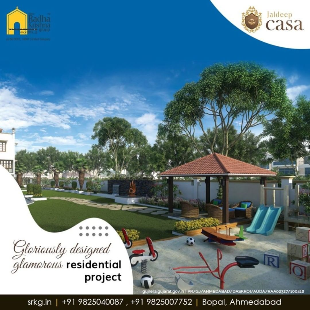 Adore the concept of independent living at the gloriouslydesigned glamorous residential project; #JaldeepCasa.  #WorkOfHappiness #Bopal #Amenities #LuxuryLiving #ShreeRadhaKrishnaGroup #Ahmedabad #RealEstate