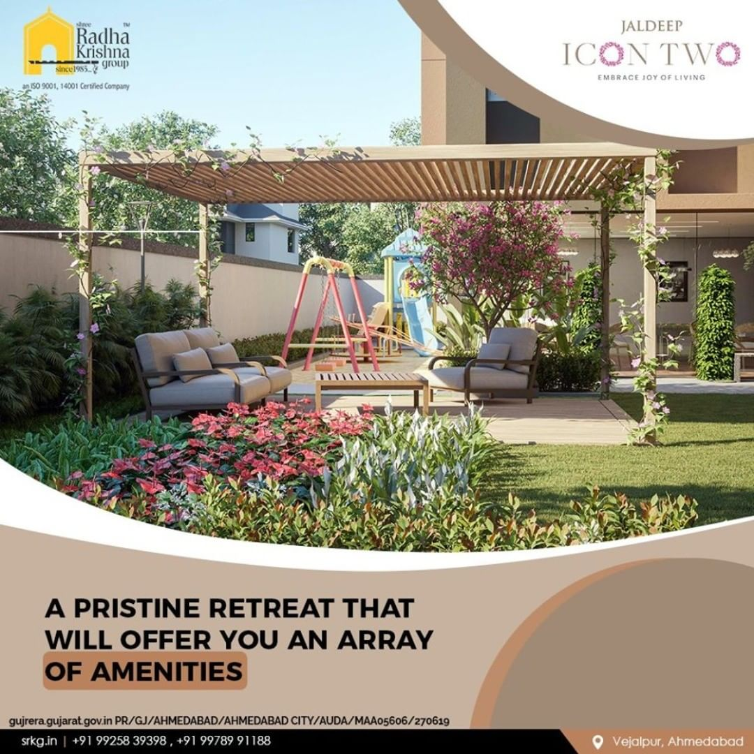 Let your lifestyle have a respite from the mundane life at a pristineretreat that will offer you an array of amenities.  #JaldeepIcon2 #Icon2 #Vejalpur #LuxuryLiving #ShreeRadhaKrishnaGroup #Ahmedabad #RealEstate #SRKG