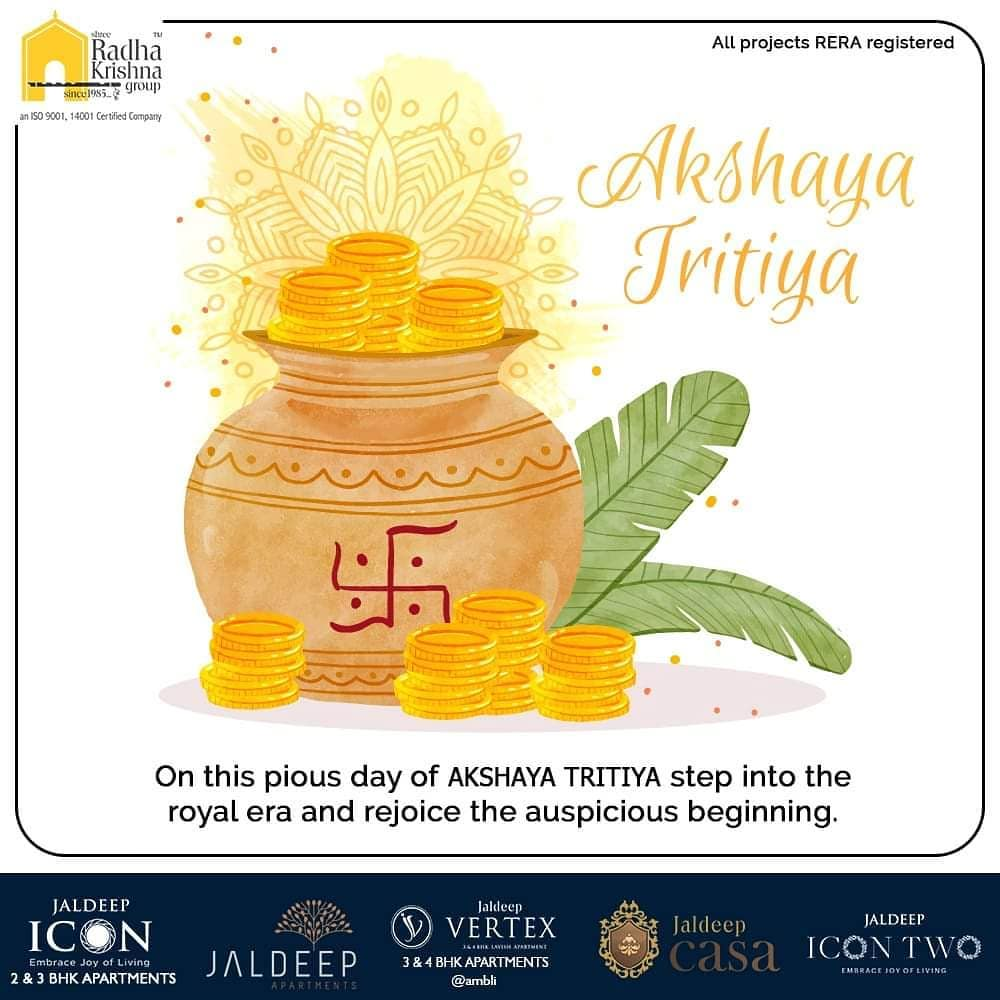 On this pious day of Akshaya Tritiya step into the royal era and rejoice the auspicious beginning.  #AkshayaTritiya #HappyAkshayaTritiya #SRKG #ShreeRadhaKrishnaGroup #Ahmedabad #RealEstate