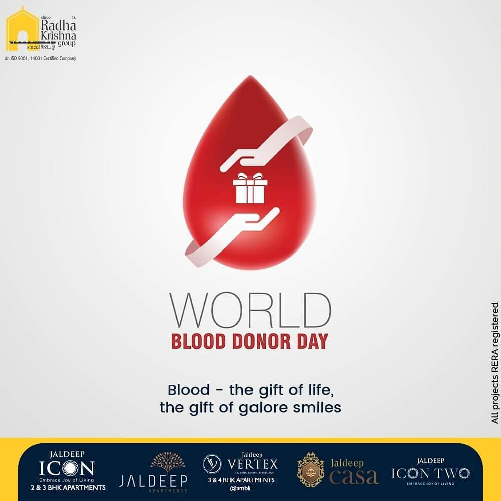 Blood- the gift of life, the gift of galore smiles.  #WorldBloodDonorDay #DonateBlood #BloodDonorDay #SRKG #ShreeRadhaKrishnaGroup #Ahmedabad #RealEstate