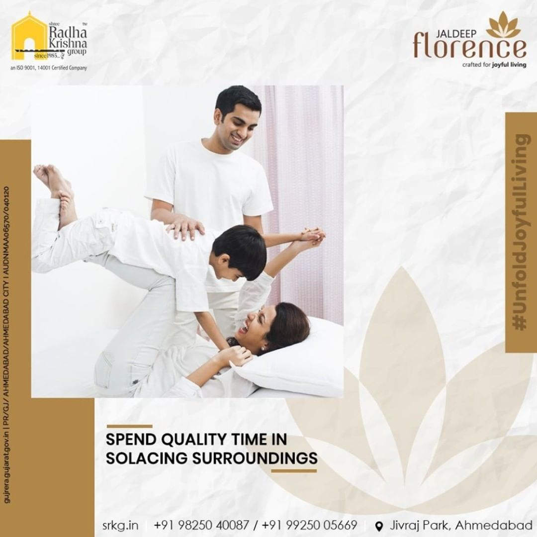There is nothing better than spending quality time with your family in a peaceful surrounding. At #JaldeepFlorence, you can revel amidst the sophisticated luxury at its finest with pristine amenities located amidst an eminent locality of Ahmedabad  #Launchingsoon #LuxuryLiving #ShreeRadhaKrishnaGroup #Ahmedabad #RealEstate #SRKG