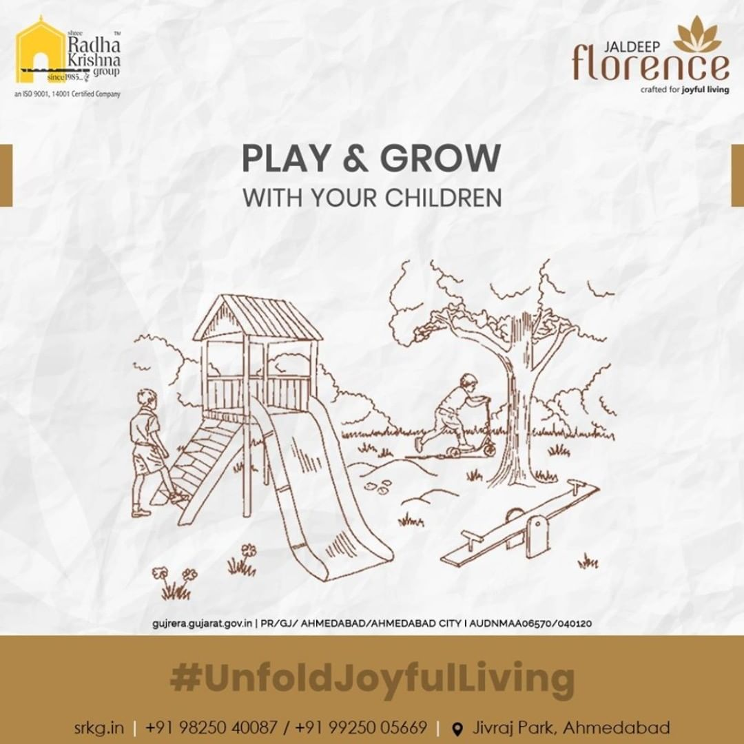 Rejoice in the happiness of children as they learn how to play and discover something new at the playground of #JaldeepFlorence  #Launchingsoon #LuxuryLiving #ShreeRadhaKrishnaGroup #Ahmedabad #RealEstate #SRKG