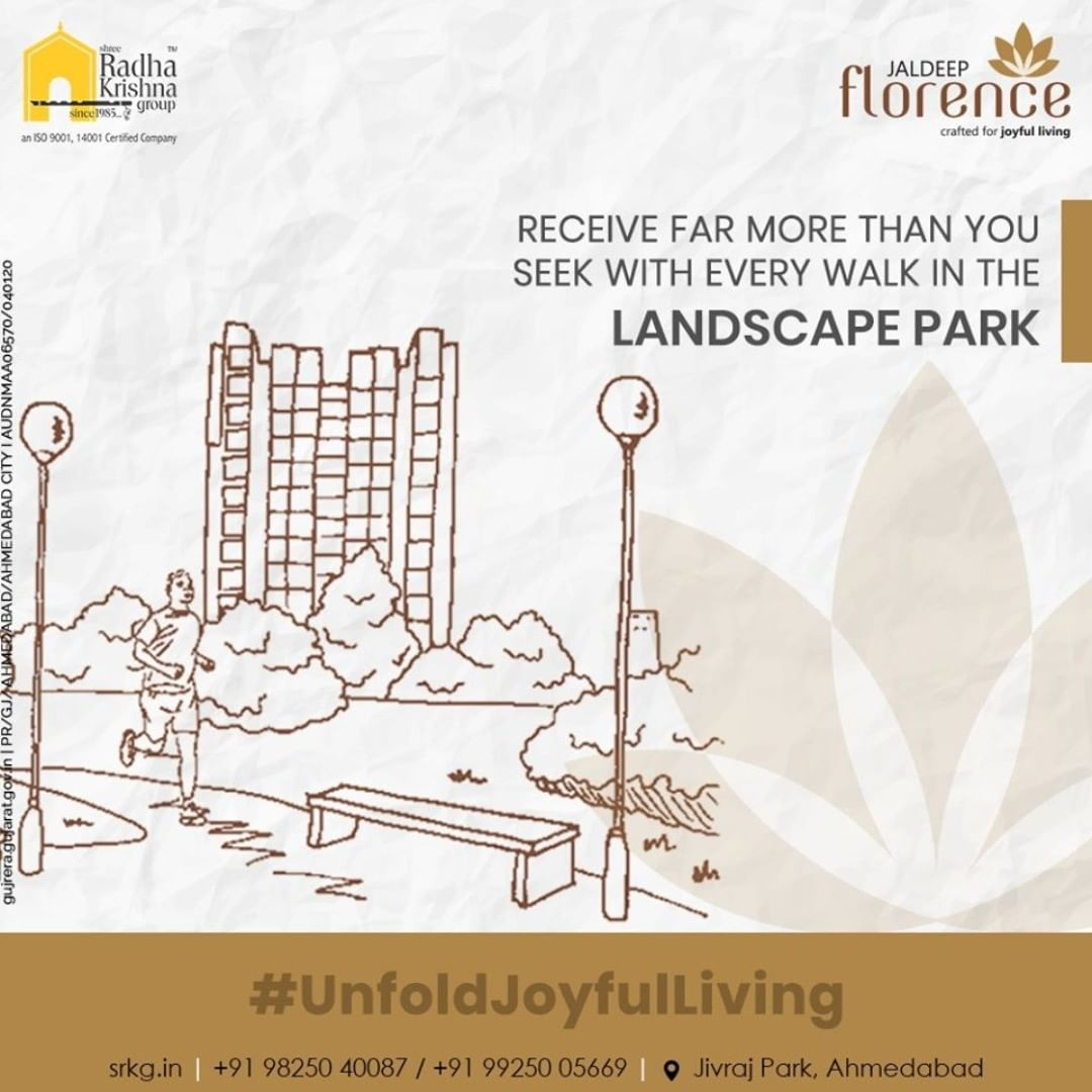 Surrounded by tranquility, Landscape Park is designed with the desire to offer a refreshing respite for a serene and joyful living experience.  #JaldeepFlorence #Launchingsoon #LuxuryLiving #ShreeRadhaKrishnaGroup #Ahmedabad #RealEstate #SRKG