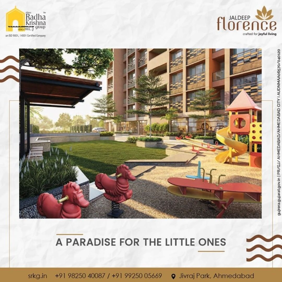 Let the kids have abundant fun and frolic in the children's play area. After all, the big smiles on their faces are what matters the most in life.  #JaldeepFlorence #LuxuryLiving #ShreeRadhaKrishnaGroup #Ahmedabad #RealEstate #SRKG