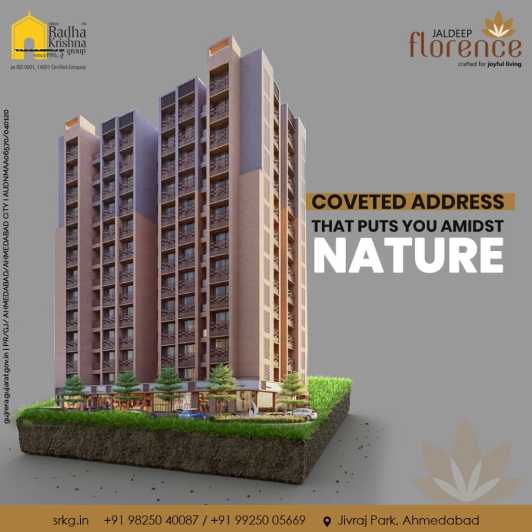 Discover the grandeur of green surroundings and tune into the soothing melodies of tranquility.  #JaldeepFlorence #LuxuryLiving #ShreeRadhaKrishnaGroup #Ahmedabad #RealEstate #SRKG