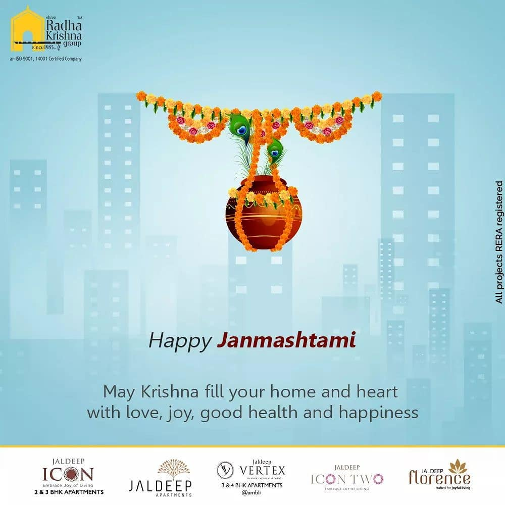 May Krishna fills your home and heart with love, joy, good health and happiness.  #HappyJanmashtami #KrishnaJanmashtami2020 #Janmashtami2020 #LordKrishna #Janmashtami #ShreeRadhaKrishnaGroup #Ahmedabad #RealEstate