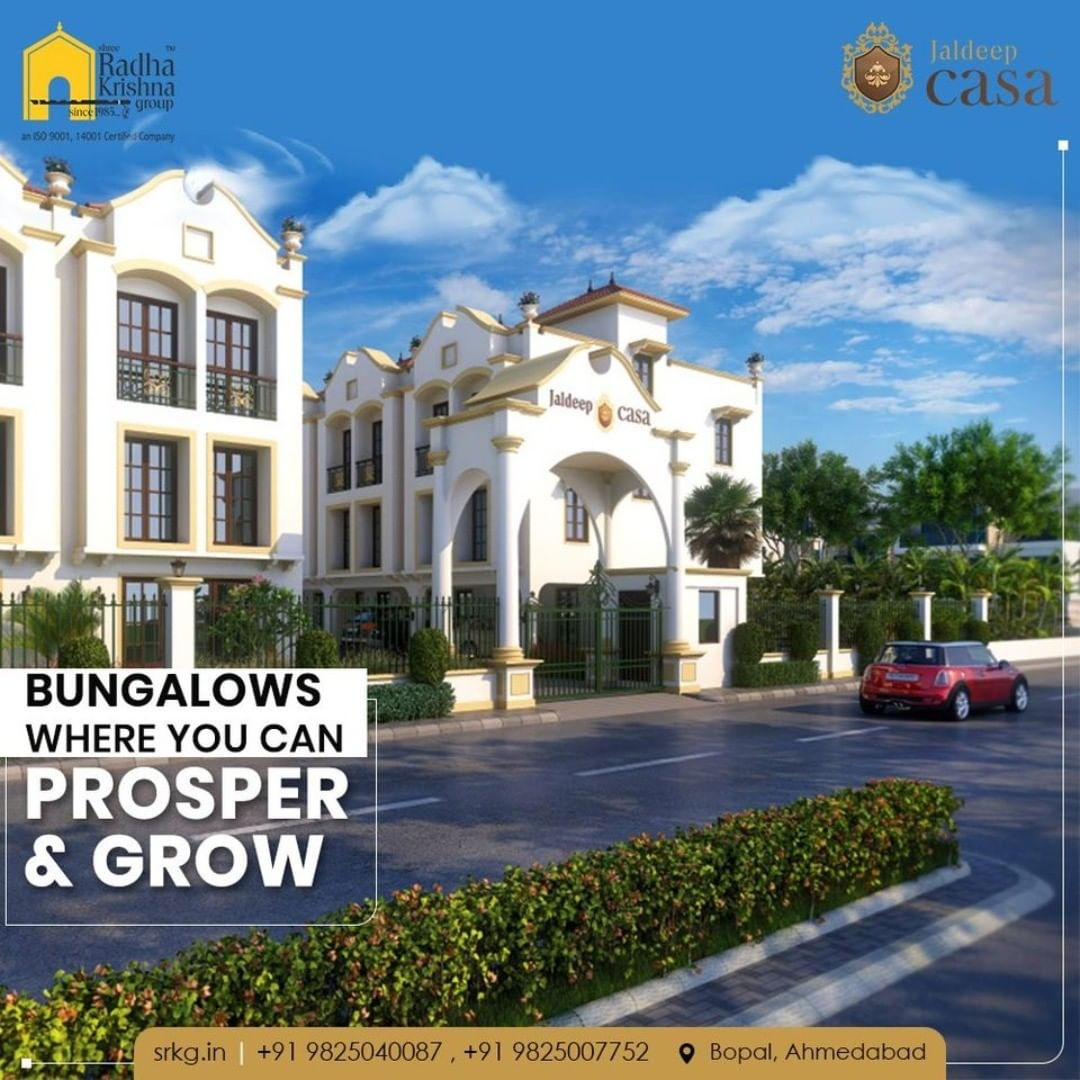 Jaldeep Casa is bringing to you an Architectural Marvel with Heritage style Bungalows where you and your family can prosper & grow.  Jaldeep Casa has 34 limited edition Bungalows located at the fastest developing area, Bopal.  #JaldeepCasa #Bungalow #Casa #RadhaKrishnaGroup #Bopal #Amenities #LuxuryLiving #ShreeRadhaKrishnaGroup #Ahmedabad #RealEstate