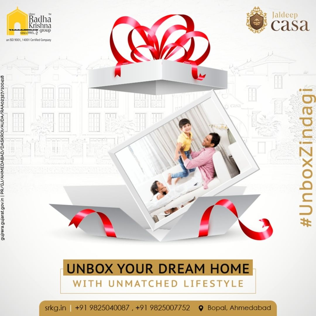 Jaldeep Casa is a Perfect Gift for your Family. Unbox your dream home with unmatched lifestyle. Gift them a villa and discover the joys of living a perfect life.  Jaldeep Casa has 34 limited edition Bungalows located at the fastest developing area, Bopal.  #JaldeepCasa #Bungalow #Casa #RadhaKrishnaGroup #Bopal #Amenities #LuxuryLiving #ShreeRadhaKrishnaGroup #Ahmedabad #RealEstate