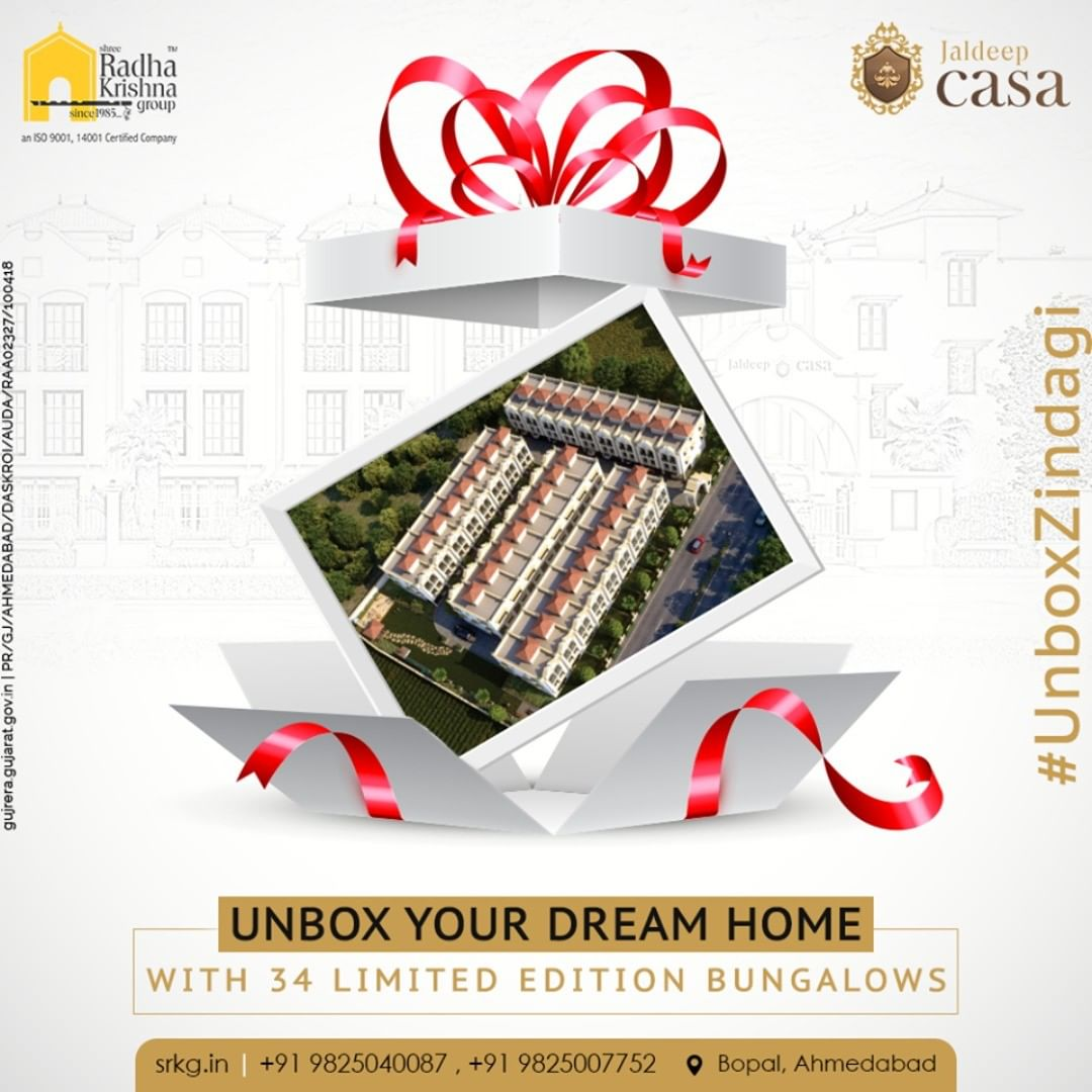Prep up to live the casa life because Jaldeep Casa is that gift which your family members will love to treasure!  The meticulously designed residential project boasts of the 34 limited edition of lavish bungalows that are designed exclusively for the choicest few.  Unbox a lifestyle adorned with the premium amenities!  #JaldeepCasa #Bungalow #Casa #RadhaKrishnaGroup #Bopal #Amenities #LuxuryLiving #ShreeRadhaKrishnaGroup #Ahmedabad #RealEstate