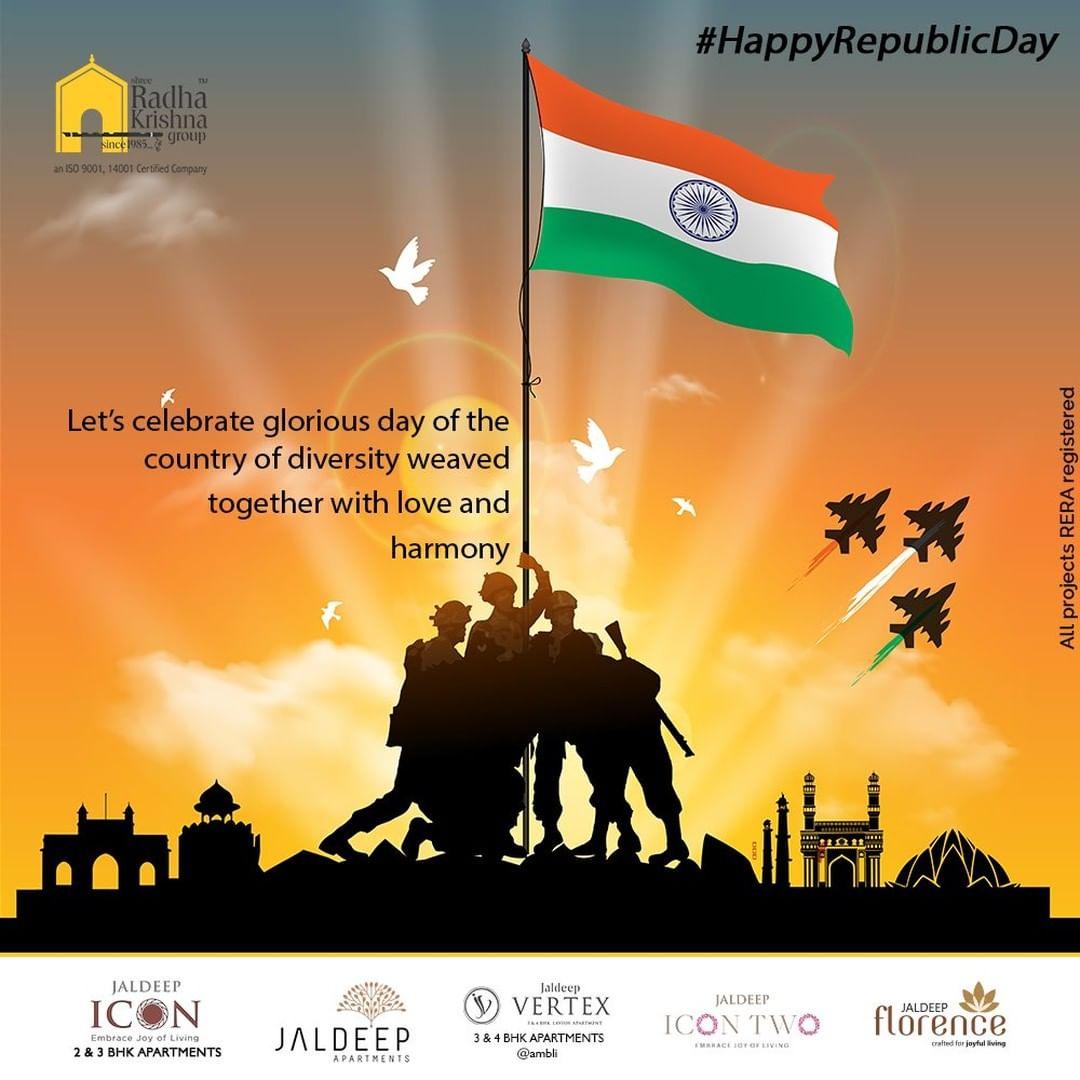 Let's celebrate glorious day of the country of diversity weaved together with love and harmony   #HappyRepublicDay #RepublicDayIndia #RepublicDay2021 #India #JaiHind #RadhaKrishnaGroup #ShreeRadhaKrishnaGroup #JivrajPark #Ahmedabad #RealEstate #SRKG