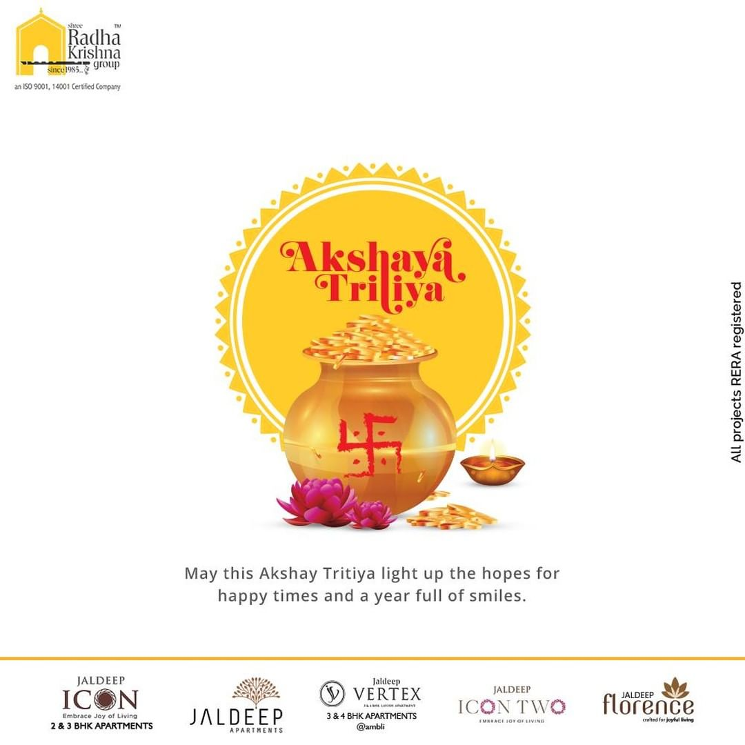 May this Akshay Tritiya light up the hopes for happy times and a year full of smiles  #AkshayaTritiya #AkshayaTritiya2021 #Happiness #Wealth #ShreeRadhaKrishnaGroup #RadhaKrishnaGroup #SRKG #Ahmedabad #RealEstate
