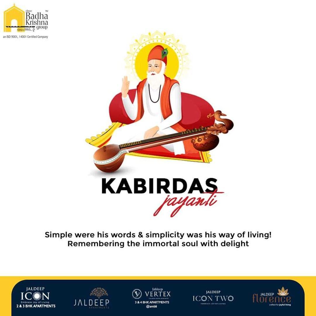 Simple were his words and simplicity was his way of living! Remembering the immortal soul with delight   #KabirdasJayanti #SantKabirdas #KabirdasJayanti2021 #Kabirdas #ShreeRadhaKrishnaGroup #RadhaKrishnaGroup #SRKG #Ahmedabad #RealEstate