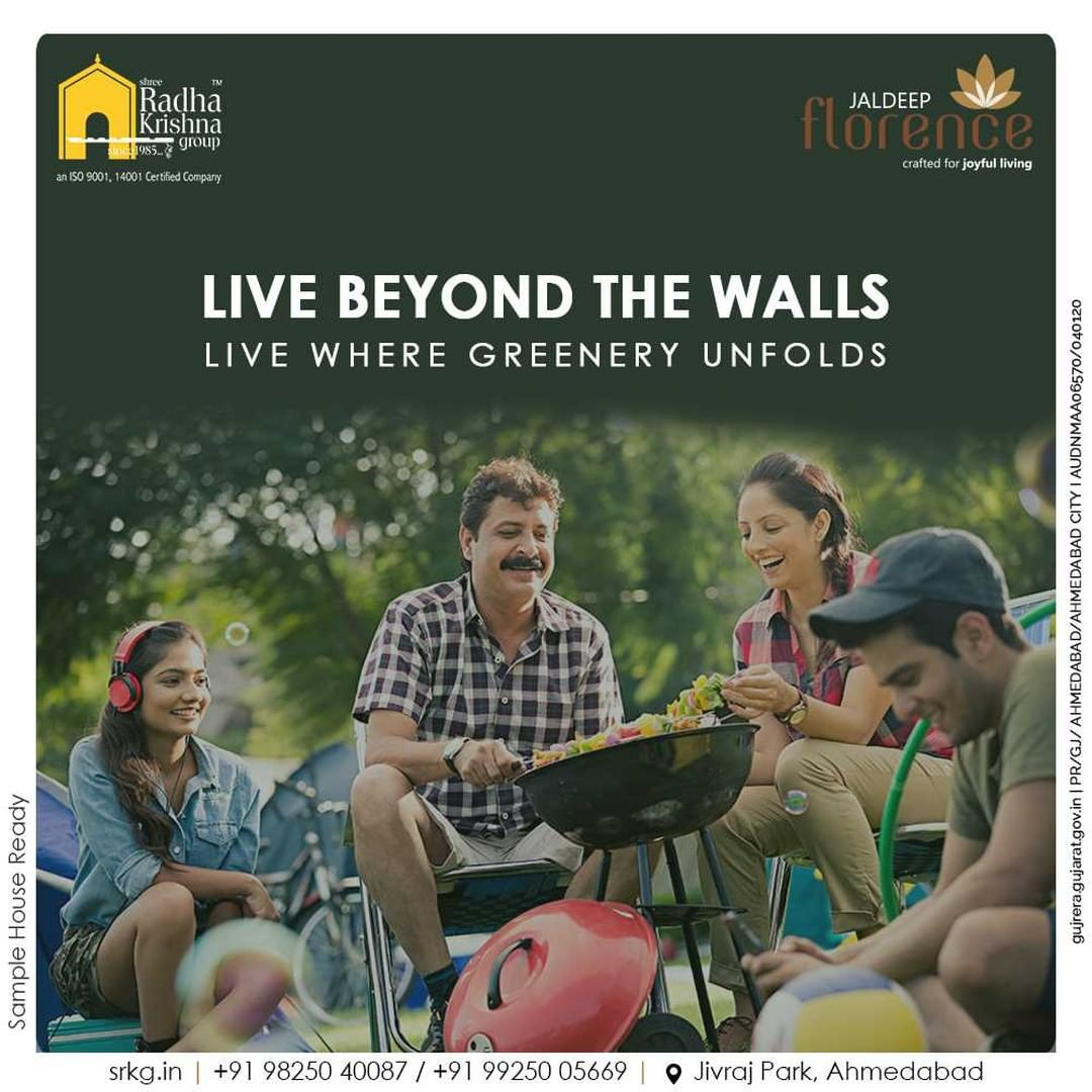 Why let your lifestyle be restricted when you can bask in the glory of space?  Think beyond the walls and live beyond the walls too! Live amidst the environment where greenery unfolds.  #JaldeepFlorence #Amenities #LuxuryLiving #RadhaKrishnaGroup #ShreeRadhaKrishnaGroup #JivrajPark #Ahmedabad #RealEstate #SRKG