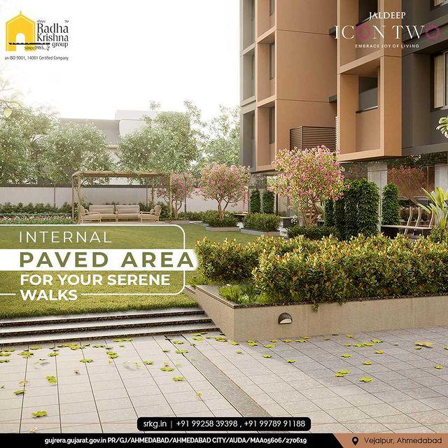 Jaldeep Icon 2 incorporates an internal paved walking area enabling serene walks within the campus.  #JaldeepIconTwo #IconTwo #LuxuryLiving #ShreeRadhaKrishnaGroup #RadhaKrishnaGroup #SRKG #Vejalpur #Makarba #Ahmedabad #RealEstate