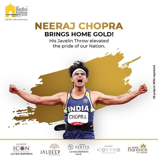 His Javelin Throw elevated the pride of our Nation.  #NeerajChopra #JavelinThrow #GoldMedal #Gold #India #Champion #TokyoOlympics #Olympics #Olympics2020 #ShreeRadhaKrishnaGroup #RadhaKrishnaGroup #SRKG #Ahmedabad #RealEstate