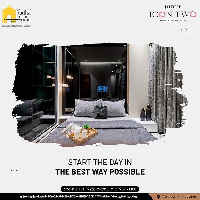 When you wake up happy, the entire day is jubilant and exciting.   At Jaldeep Icon 2, start your day in the best way possible and lay the foundation of a wonderful day ahead thanks to its serene design and positive aura.  #JaldeepIconTwo #IconTwo #LuxuryLiving #ShreeRadhaKrishnaGroup #RadhaKrishnaGroup #SRKG #Vejalpur #Makarba #Ahmedabad #RealEstate