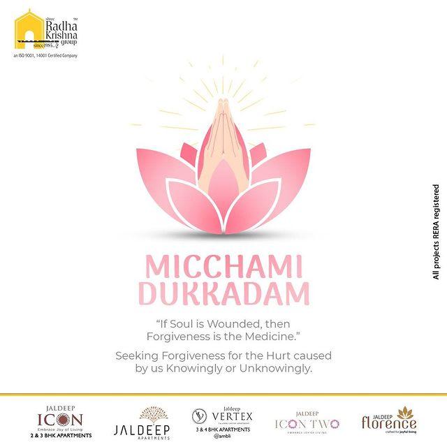 Radha Krishna Group,  MicchamiDukkadam, Samvatsari, Paryushan, Samvatsari2021, Pratikaman, Jain, Jainism, Peace, Forgiveness, SRKG, Ahmedabad, RealEstate