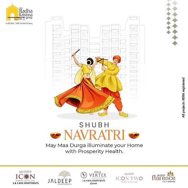 May Maa Durga illuminate your Home with Prosperity Health.   #Navratri #Navratri2021 #HappyNavratri #HappyNavratri2021 #Festival #ShreeRadhaKrishnaGroup #RadhaKrishnaGroup #SRKG #Ahmedabad #RealEstate