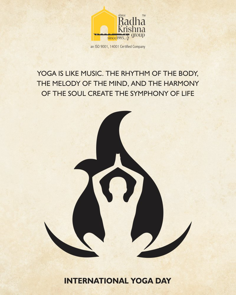 Yoga is like music. The rhythm of the body, the melody of the mind, and the harmony of the soul create the symphony of life.  #YogaDay #YogaDay2018 #InternationalYogaDay #ShreeRadhaKrishnaGroup #Ahmedabad https://t.co/LyryrslHGL