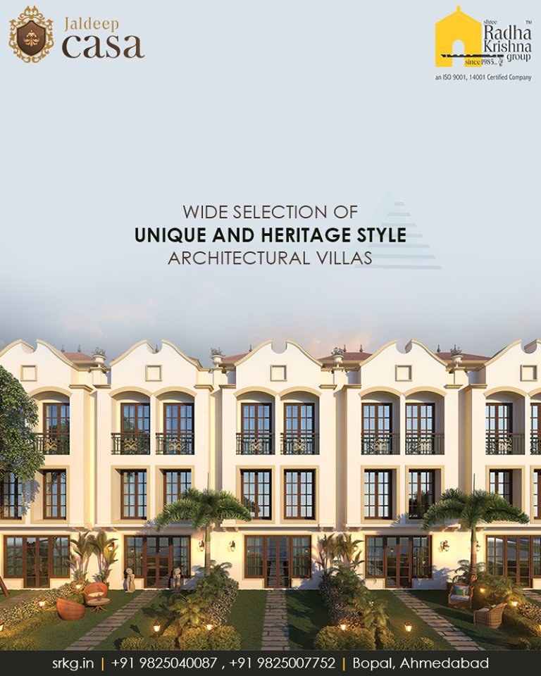 Wide selection of unique and heritage style architectural villas at #JaldeepCasa, #Bopal provides the perfect space to spend some quality and fun time with your family   #LuxuryLiving #Villas #ShreeRadhaKrishnaGroup #Ahmedabad https://t.co/TqaeB0wbzQ