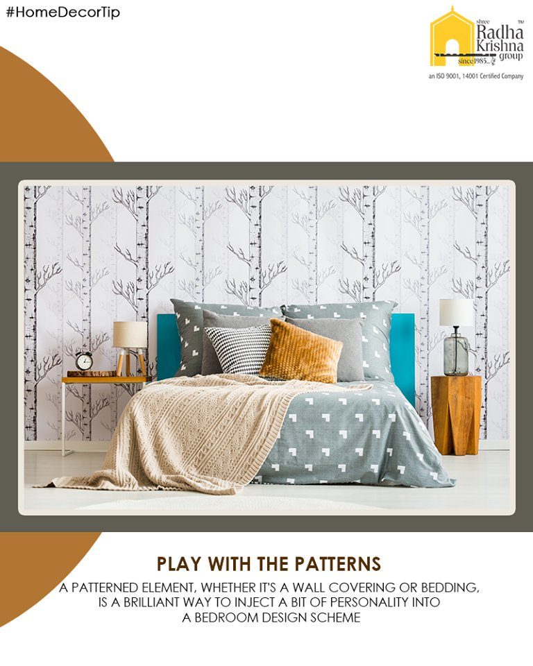 Choose unique patterns for your room to match your personality.  #HomeDecorTips #LuxuryLiving #ShreeRadhaKrishnaGroup #Ahmedabad #RealEstate https://t.co/pjpNcWPjB6