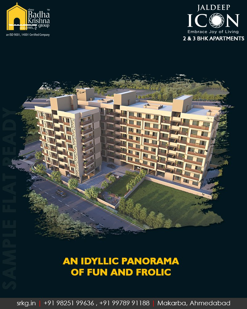 Exquisitely crafted homes!  #JaldeepIcon #SampleFlatReady #2and3BHKApartments #LuxuryLiving #ShreeRadhaKrishnaGroup #Makarba #Ahmedabad https://t.co/cHiyKe9zLJ