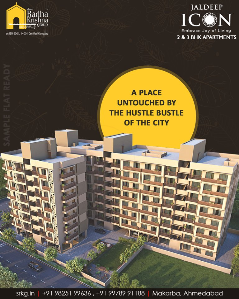 A place untouched by the hustle-bustle of the city sets the perfect canvas of living for its residents at #JaldeepIcon.  #SampleFlatReady #2and3BHKApartments #LuxuryLiving #ShreeRadhaKrishnaGroup #Makarba #Ahmedabad https://t.co/fuMAomCv2E