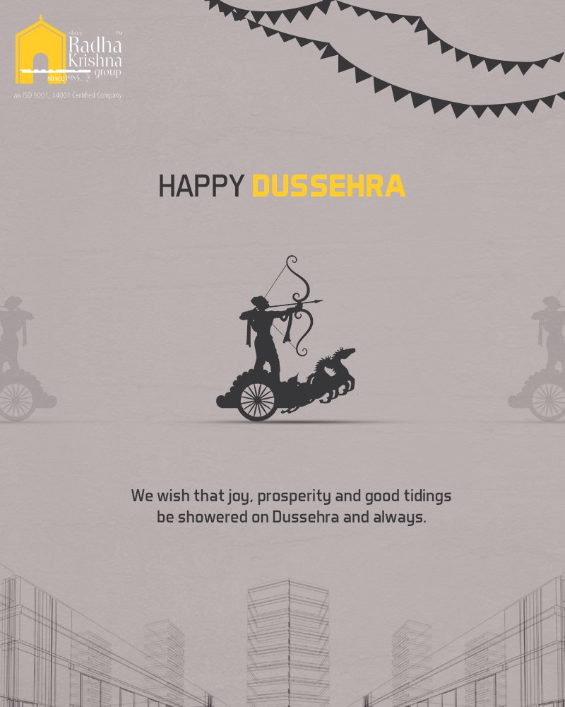 We wish that joy, prosperity and good tidings be showered on Dussehra and always.  #HappyDussehra #Dussehra2018 #Dussehra #IndianFestivals #Celebration #ShreeRadhaKrishnaGroup #Ahmedabad #RealEstate #LuxuryLiving https://t.co/hAGy7CfeOn