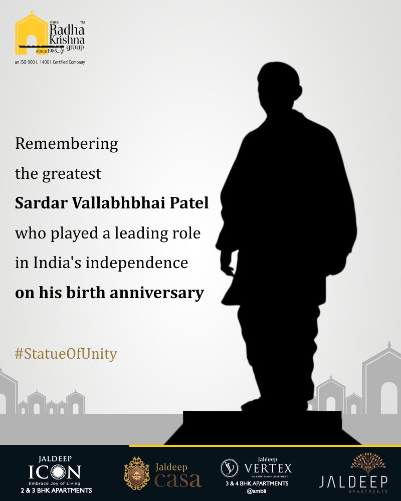 Remembering the greatest Sardar Vallabhbhai Patel who played a leading role in India's independence on his birth anniversary. #StatueOfUnity #UnityStatue #WorldsTallestStatue #TallestStatueOfTheWorld #TallestStatue #IronMan #IronManOfIndia #SardarVallabhbhaiPatel https://t.co/iXKTosKseU