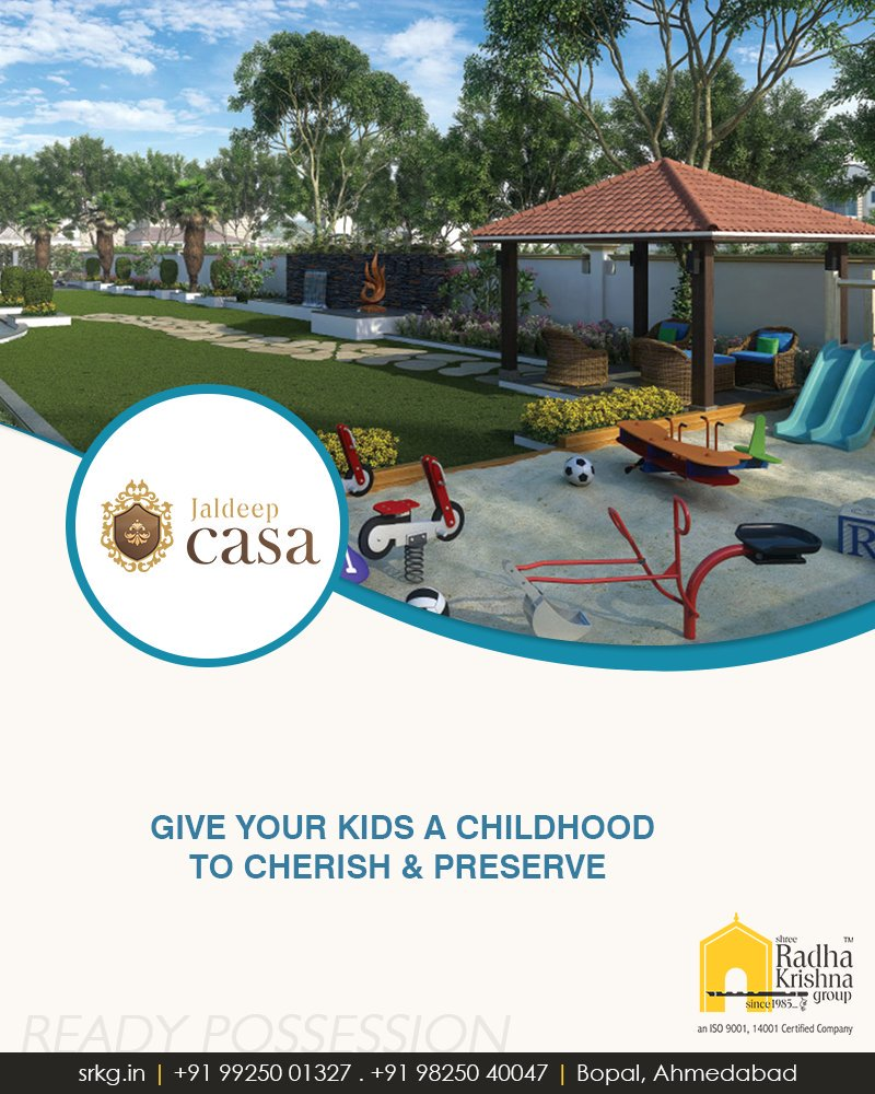 Let children be children! Whisk them away from the gadgets and loneliness. Give your kids a childhood to cherish & preserve at #JaldeepCasa.  #LetChildrenBeChildren #ChildrenPlayArea #ShreeRadhaKrishnaGroup #Abodes #LuxuryLiving #Gujarat #India #RealEstate #Ahmedabad https://t.co/nO07EkvCD2