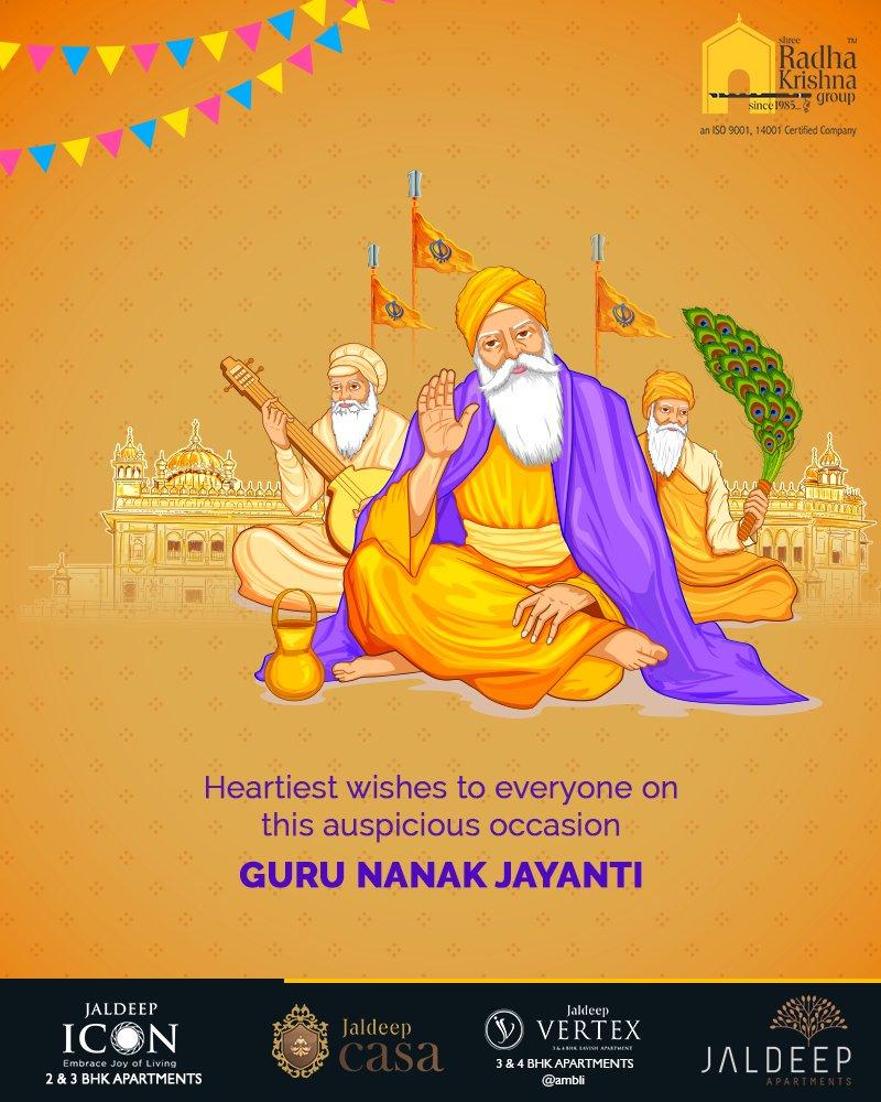 Heartiest wishes to everyone on this auspicious occasion.  #GuruNanakJayanti #Gurpurab #GuruNanakDevJi #ShreeRadhaKrishnaGroup #Ahmedabad #RealEstate #LuxuryLiving https://t.co/7esqWnwcOo